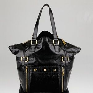 Yves St. Laurent Large Patent Leather Downtown Bag